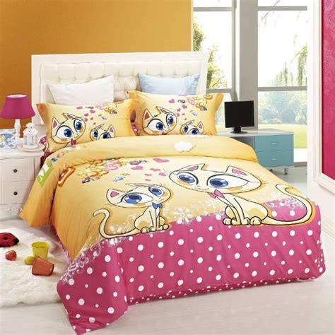 duvet cover kids bed cat print bedding set children girls girls bedding sets full twin size