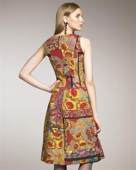 Patchwork Dresses - oscar de la renta paisley patchwork dress lyst