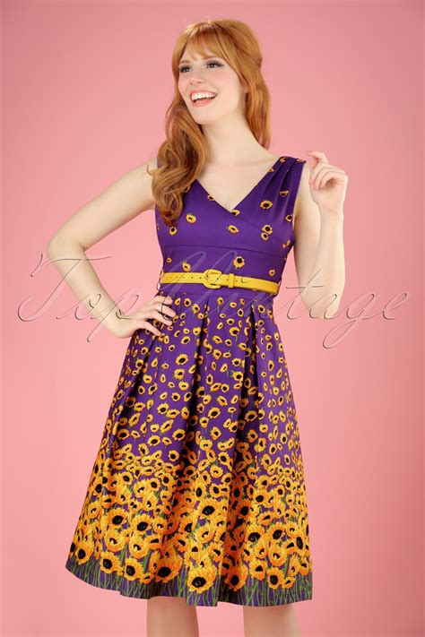 Dress Valerie 50s valerie sunflowers swing dress in purple