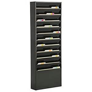file folder wall rack with 11 tiered pockets