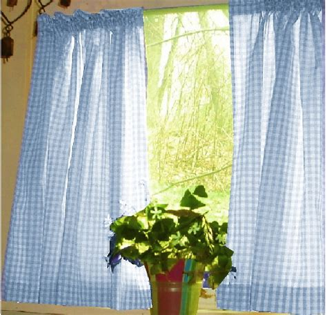 Kitchen Curtains Blue blue gingham kitchen caf 233 curtain unlined or with white or blackout lining in many custom lengths
