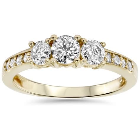 1ct 3 engagement ring 14k yellow gold ebay