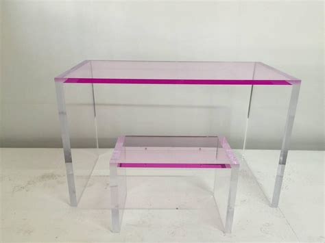 Clear Plastic Desk by Whimsical Pink And Clear Acrylic Desk And Bench For Sale