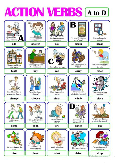 printable pictures verbs action verb flashcards worksheet free esl printable