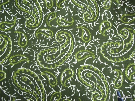 green and white upholstery fabric paisley print cotton fabric green and white dress fabric by