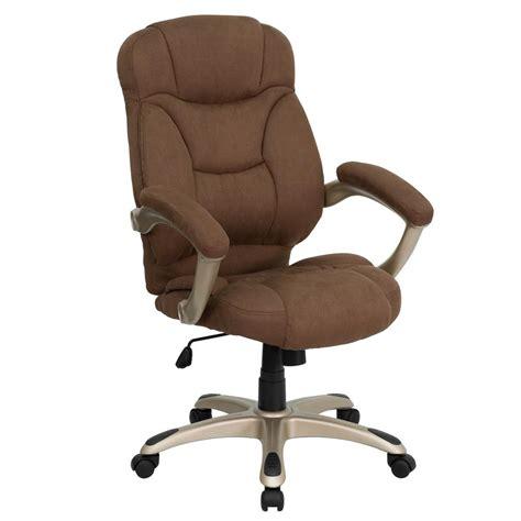Flash Furniture High Back Brown Microfiber Contemporary Microfiber Swivel Chair