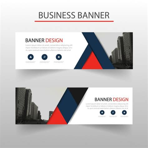 banner design editor modern banner with red and blue geometric shapes vector