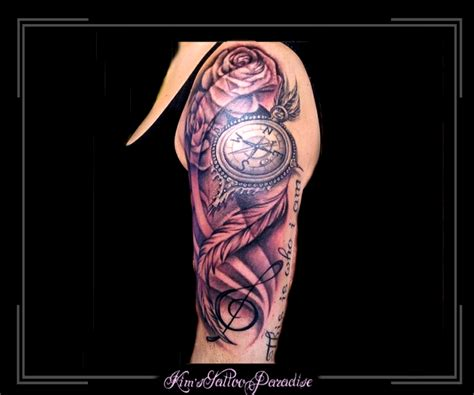 tattoo arm klok kompas kim s tattoo paradise