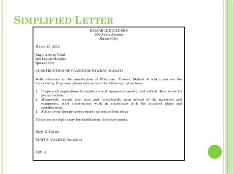 Simplified Business Letter Definition Business Letter Writing Style Catatan Mahasiswa Universitas Gunadarma