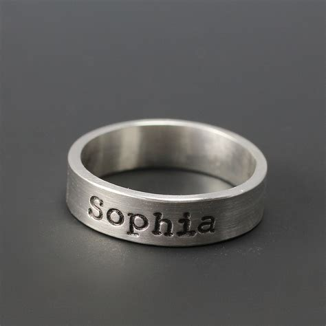 personalized name ring sterling silver sted ring