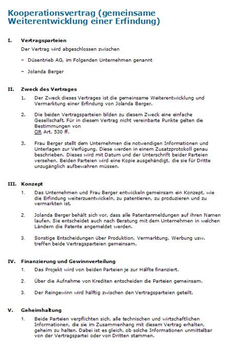 Mustervertrag Word Zusammenarbeit Und Entwicklung Muster F 252 R Einen