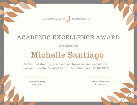 academic award certificate template academic excellence certificate templates by canva