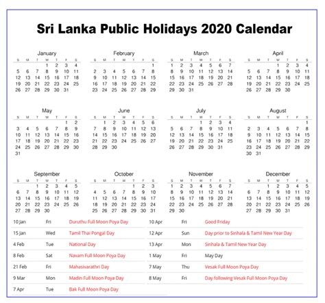 blank printable sri lanka public holidays  calendar