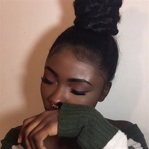 how to pen up black women hair bun dark skin make up goals image 4292624 by olga b