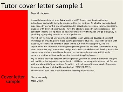 cover letter tutor position tutor cover letter