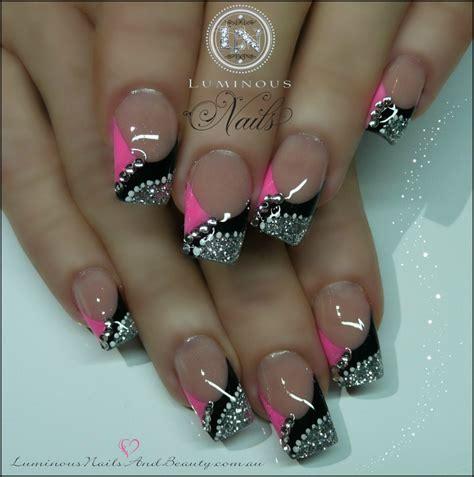 pink glitter acrylic nail designs acrlyic glitter acrylic with neon pink rainbow