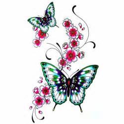 tatouage ephemere fleur de cerisier japonais papillon