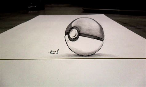 3d sketch drawing 3d sketch pokeball by iza nagi on deviantart