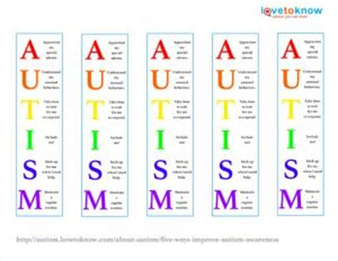 printable autism awareness bookmarks five ways to improve autism awareness