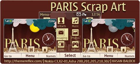 themes nokia c3 paris eiffel tower theme for nokia x2 00 x2 02 x3 00 c2 01