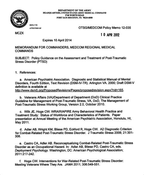 army memorandum template sle army memo template 8 free pdf documents