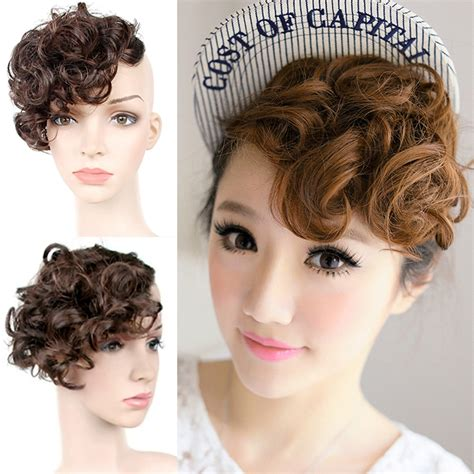 hair bangs pieces women bangs piece clip on front inclined fringe hair wavy
