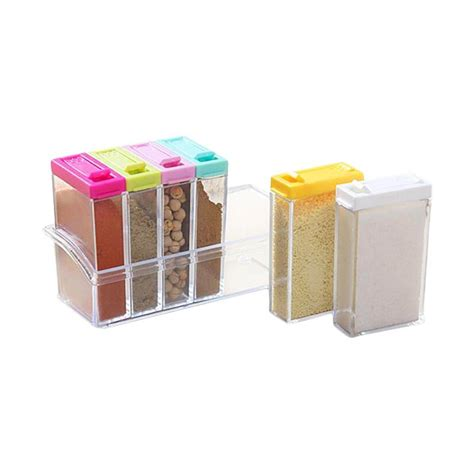 1 Set Tempat Bumbu Dapur jual miibox 6 in 1 seasoning box rak tempat bumbu dapur