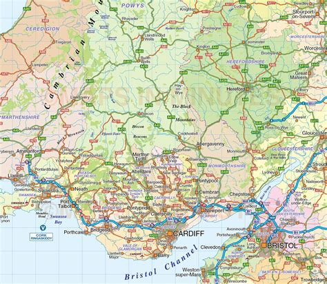 Printable Wall Murals british isles county road rail map 1 1m scale