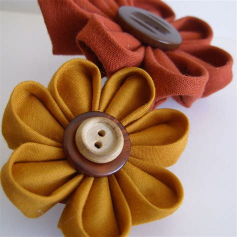 And Handmade - buy floral combo 2 fabric flowers on a barrette try