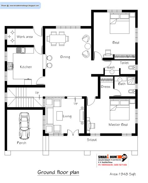 floor plan of home kerala home plan and elevation 2811 sq ft kerala