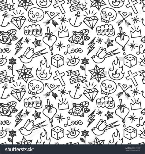 pattern school vector old school tattoo seamless pattern vector vectores en