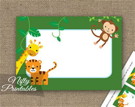 printable zoo animal name tags safari favor tags etsy