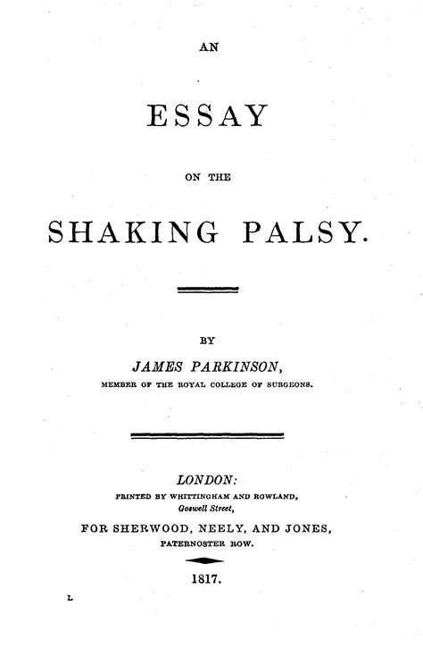 The Best Resume Font by File Parkinson An Essay On The Shaking Palsy Title Page