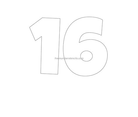 number 16 template gallery