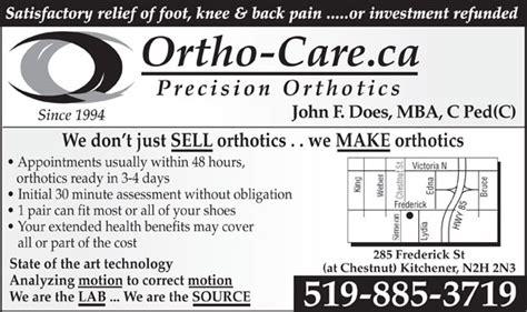 ortho care precision orthotics 285 frederick st