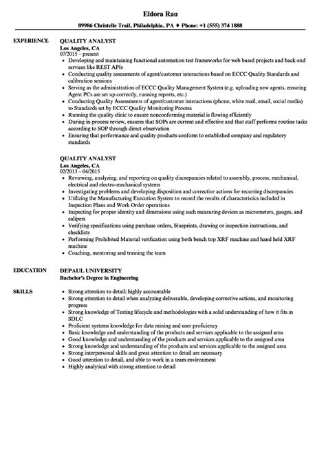 Sle Resume Quality Analyst Bpo by Quality Analyst Resume Sles Velvet