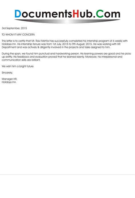 experience letter for internship documentshub