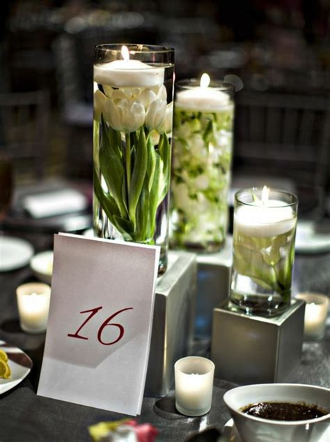 einfache esszimmertisch herzstück ideen tischdeko mit tulpen festliche tischdeko ideen mit