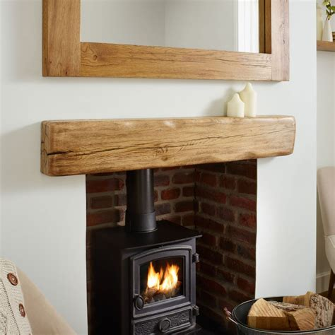 oak mantel shelf aged flamed rustic solid french beam