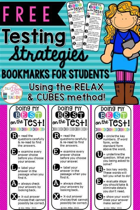 printable bookmarks for high school students testing strategies relax cubes poster set bookmarks