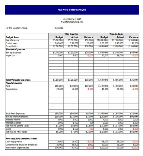 budget analysis template 6 free word excel pdf format