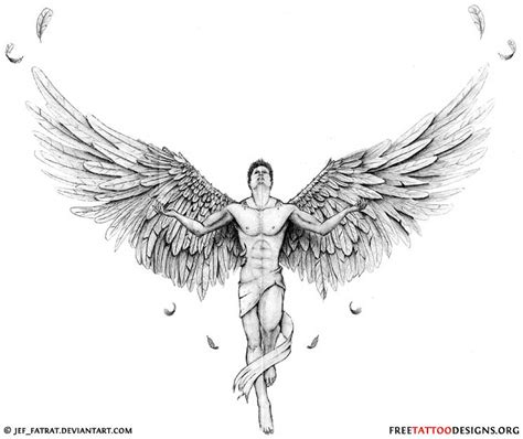 male angel tattoo designs with open wings design