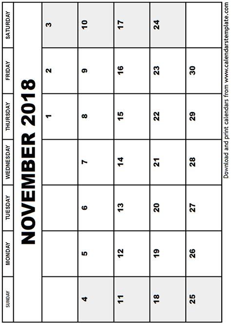November 2018 Calendar Template Calendar Template 2018 Printable