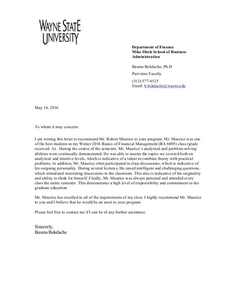 Letter Of Recommendation For Finance Robert Maurice Letter Of Recommendation Finance