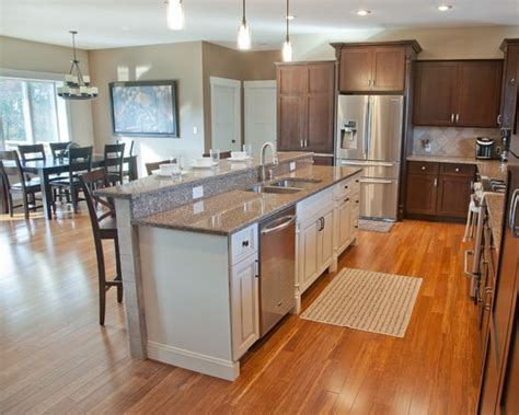 open kitchens with islands open concept kitchen with hickory stained perimeter