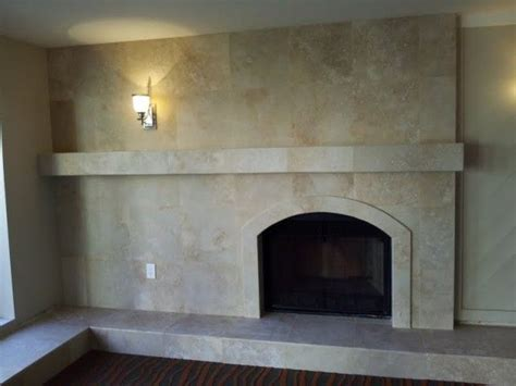 classic travertine fireplace family room