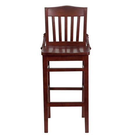 restaurant bar stools hercules mahogany finished school house back wooden
