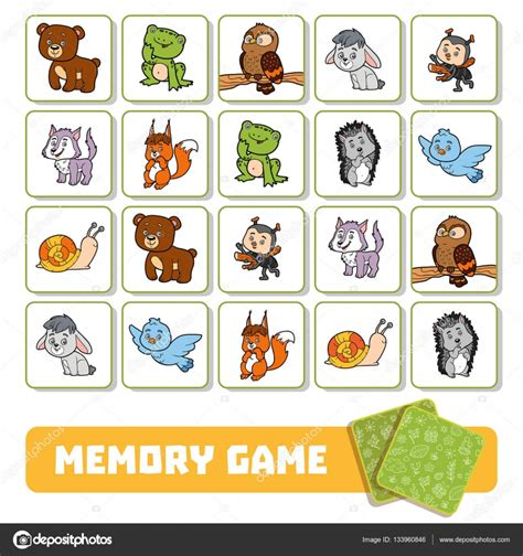 Puzzle Tombol Tranport memory for children cards with forest animals