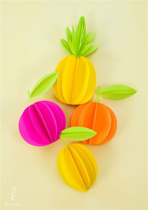 Paper Pineapple Craft - 3d paper pineapple citrus fruits free templates