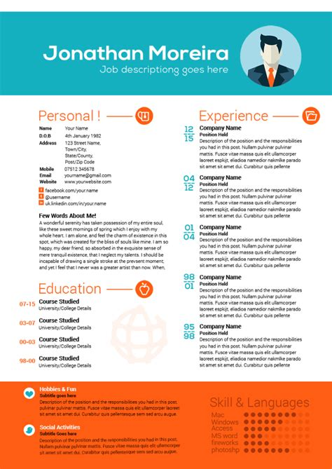 creative curriculum vitae template download creative professional curriculum citae template
